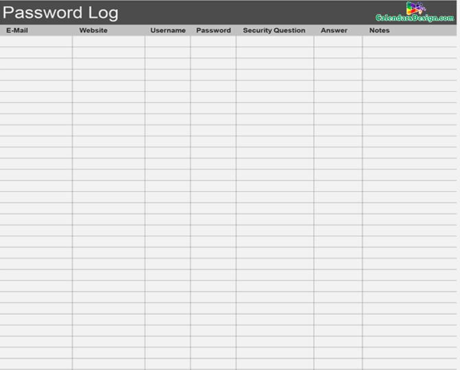 Password Log Template Excel