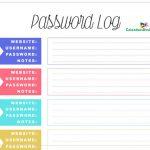 Password Log Template Free