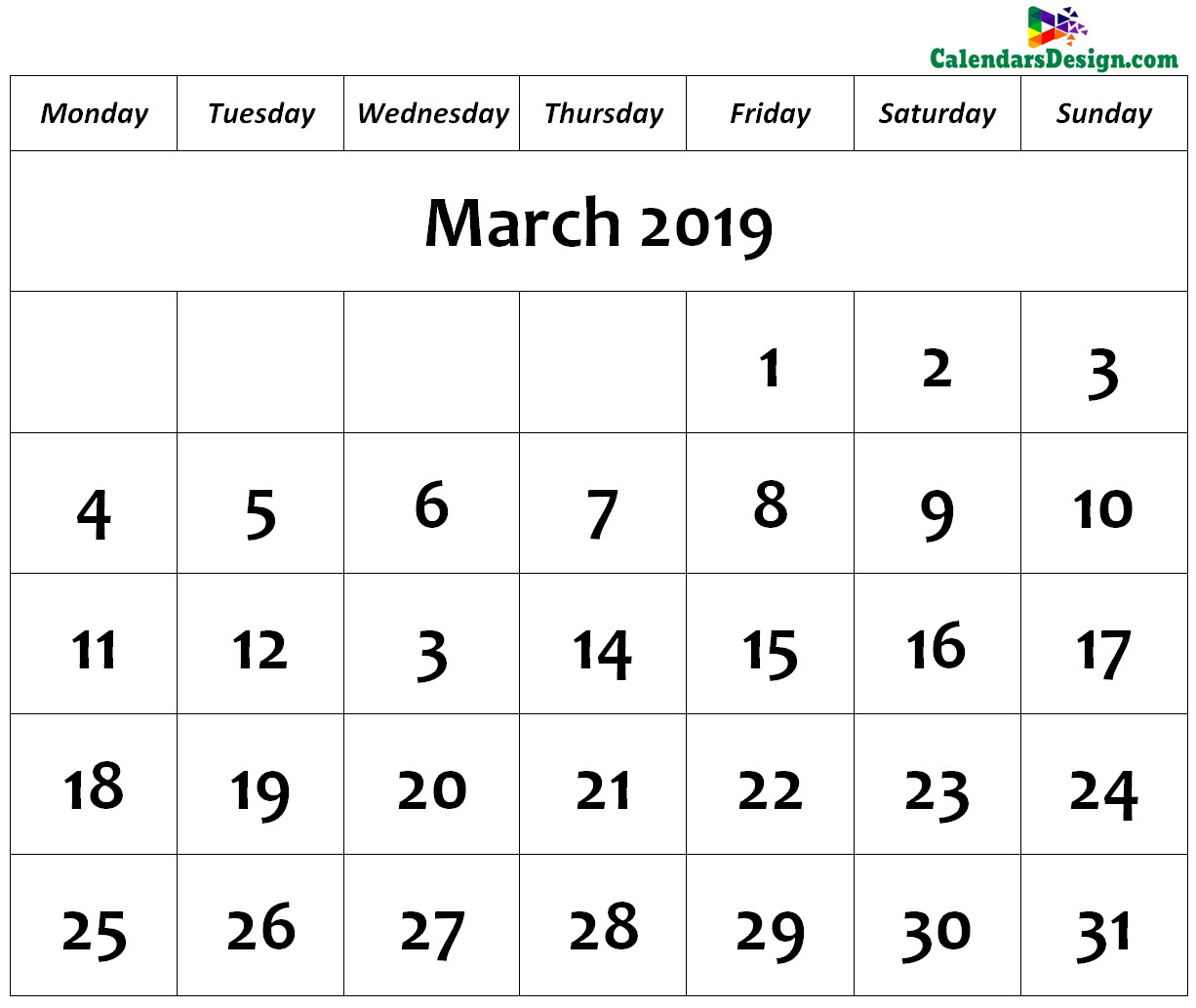 Print March 2019 Calendar in Page Format