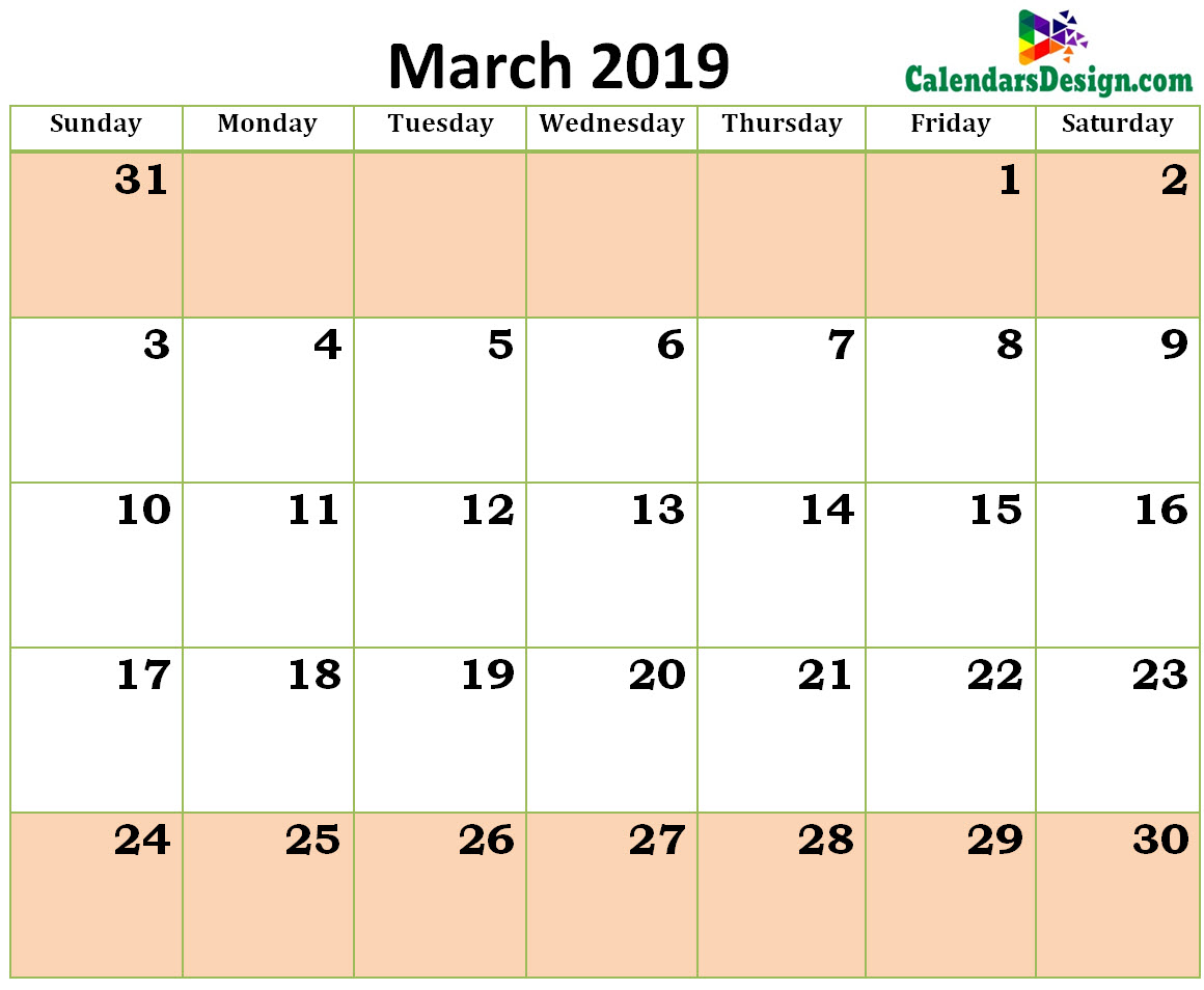 Printable Blank 2019 March Calendar Excel