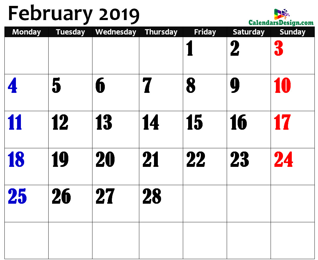 Printable Calendar for February 2019 Page
