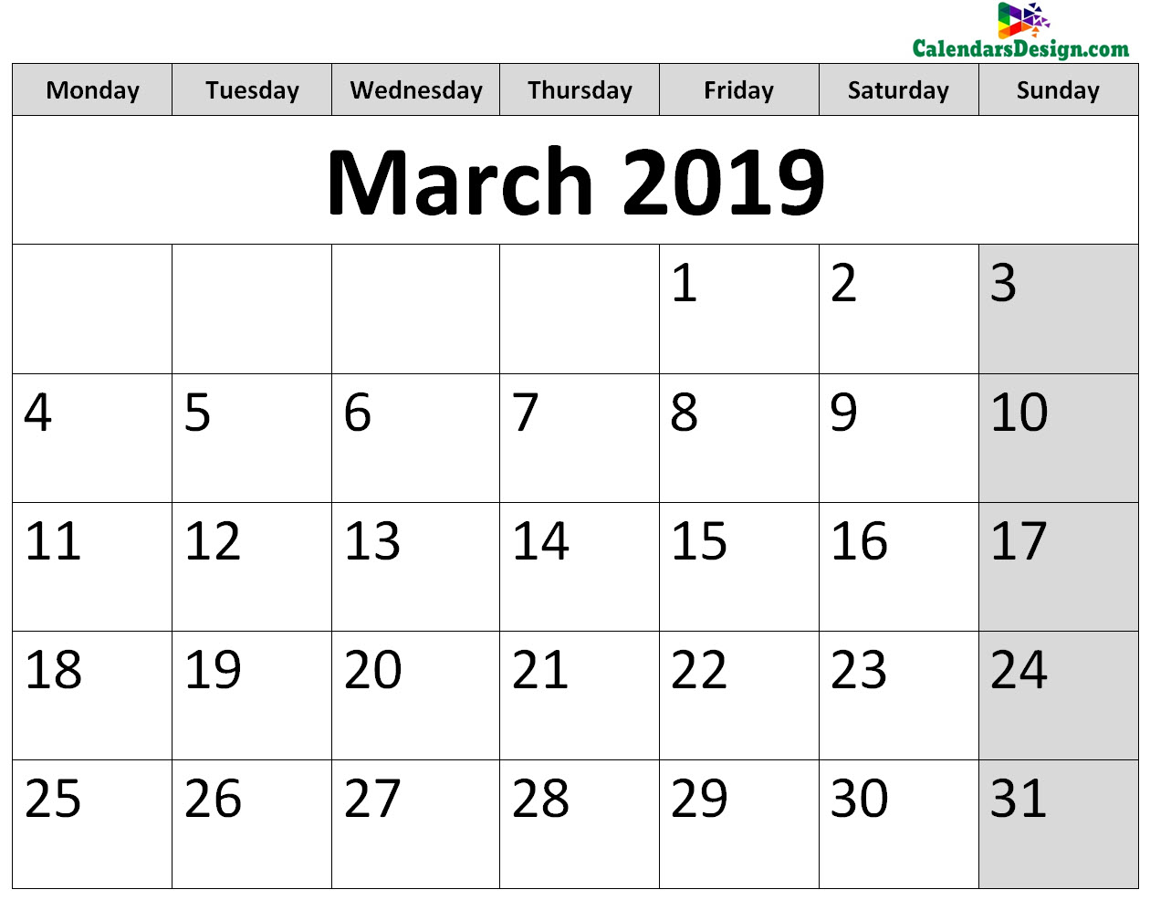 Printable Calendar for March 2019 Page