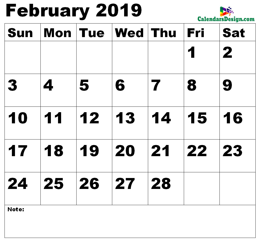 Vertex February Calendar 2019 Printable