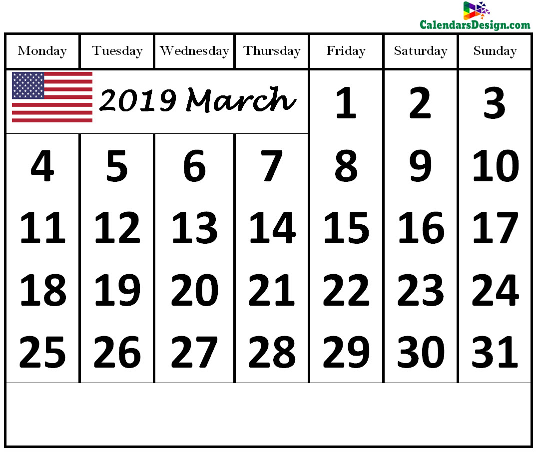 2019 March Calendar US
