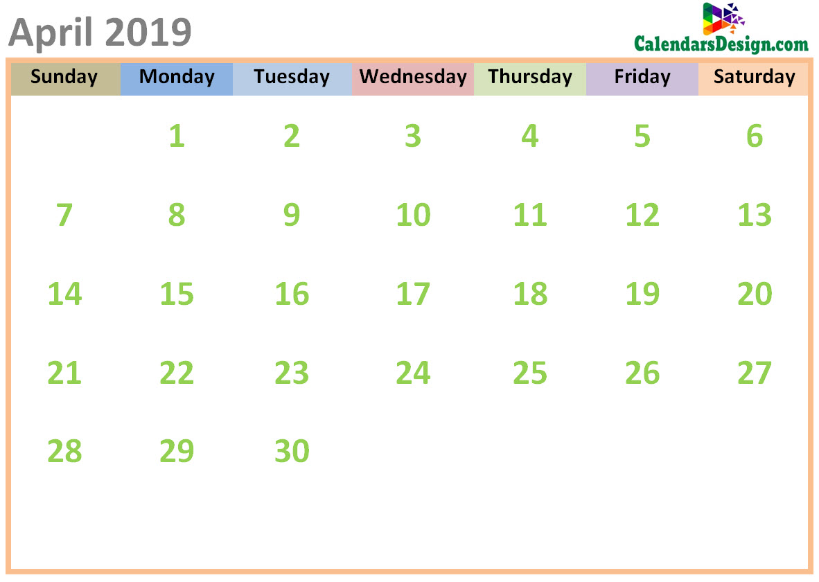 April 2019 Calendar Cute Designs