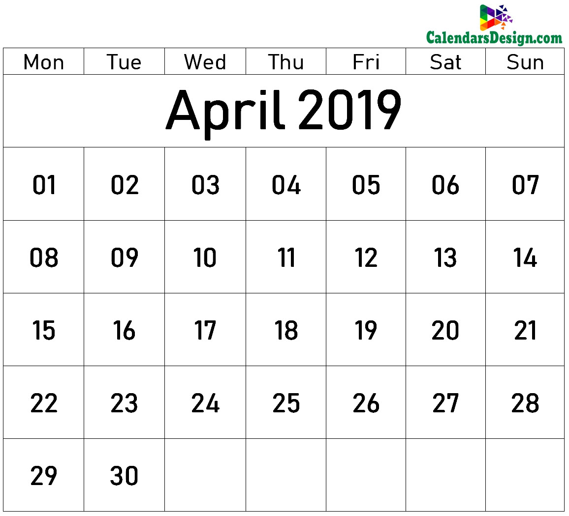 image about April Printable Calendar called April 2019 Printable Blank Calendar - Cost-free 2019 Printable