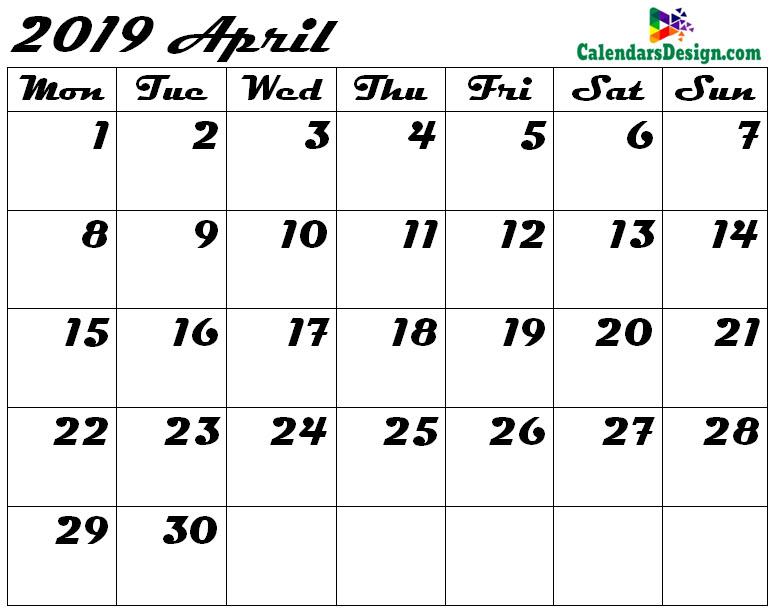 Blank April Calendar 2019 Template