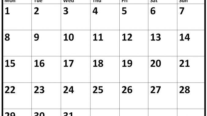 Blank July 2019 Calendar