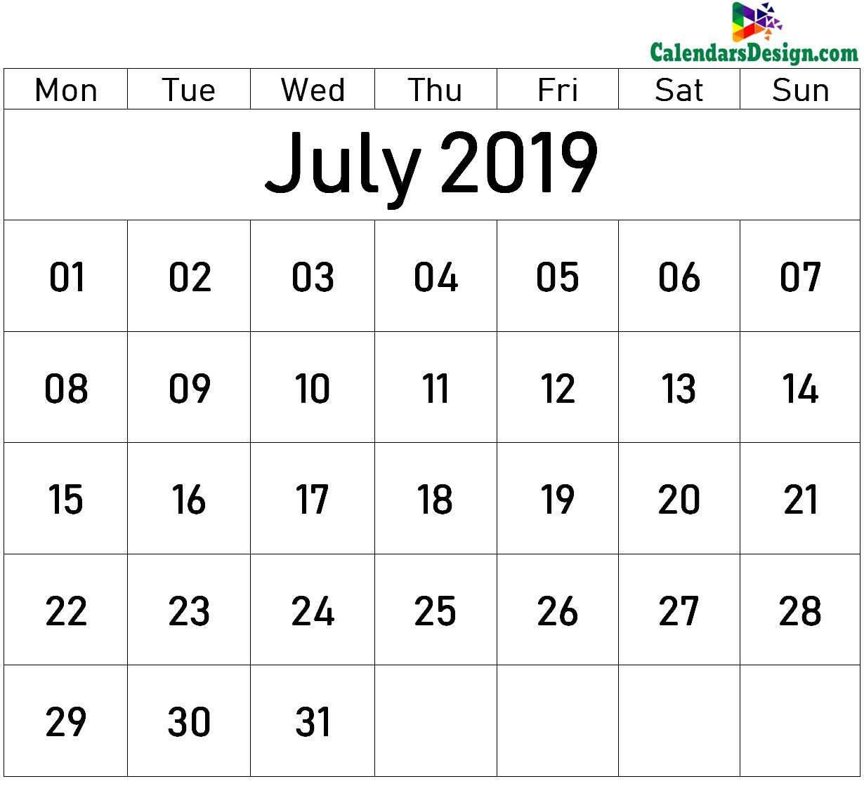 Blank July Calendar 2019 Template