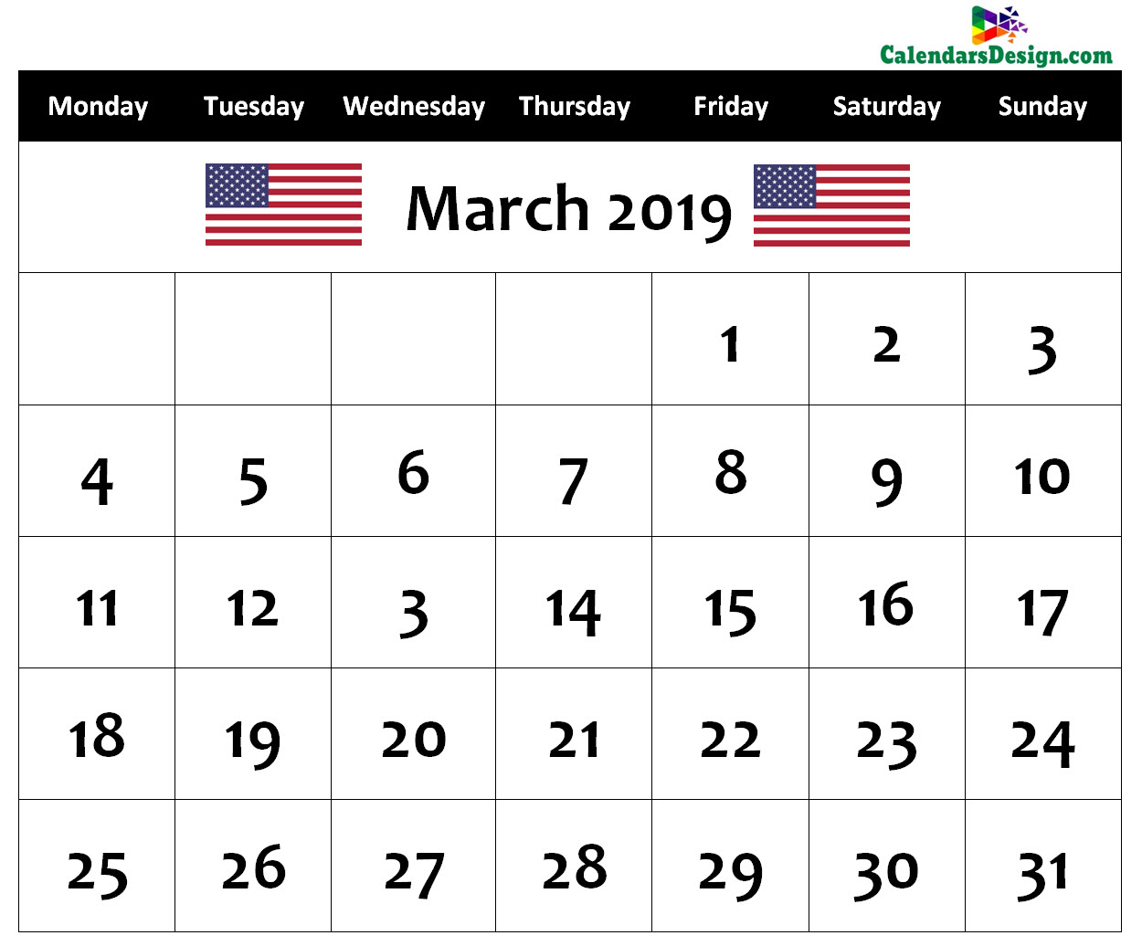 Calendar for March 2019 US