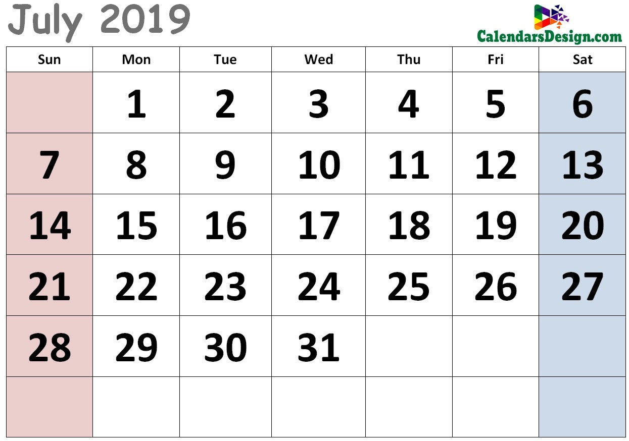 picture about Calendar for July Printable known as Adorable Calendar for July 2019 - Cost-free 2019 Printable Calendar