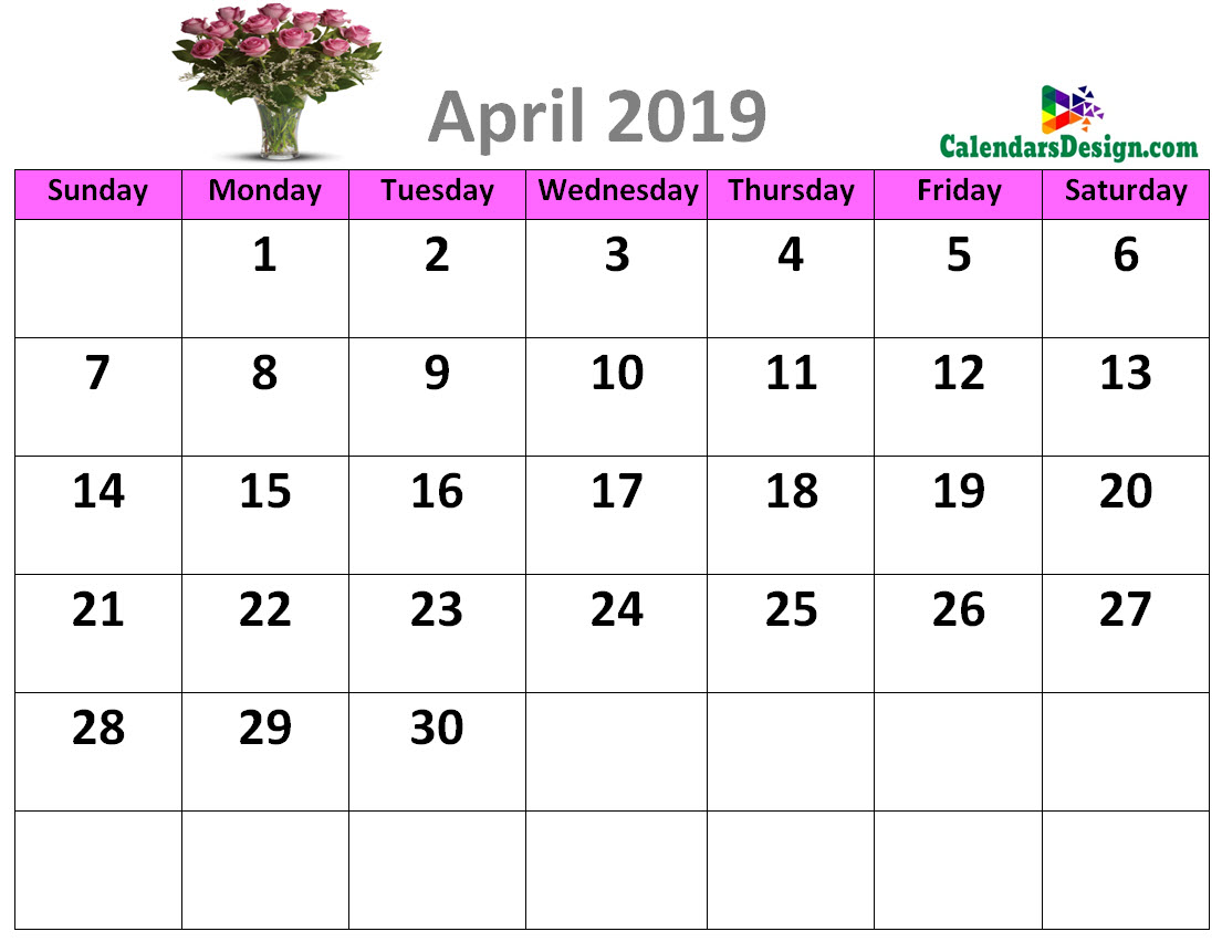 Decorative April 2019 Cute Calendar Free 2019 Printable Calendar