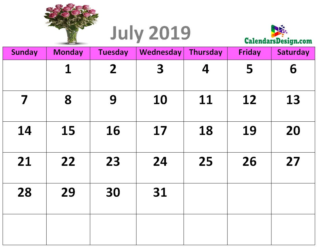 Decorative July 2019 Cute Calendar
