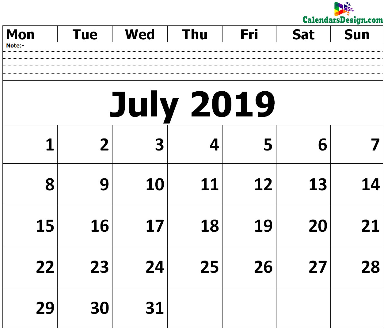 Editable July 2019 Calendar Blank Template