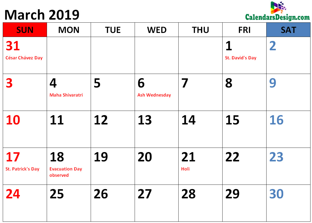 Holidays Calendar for March 2019