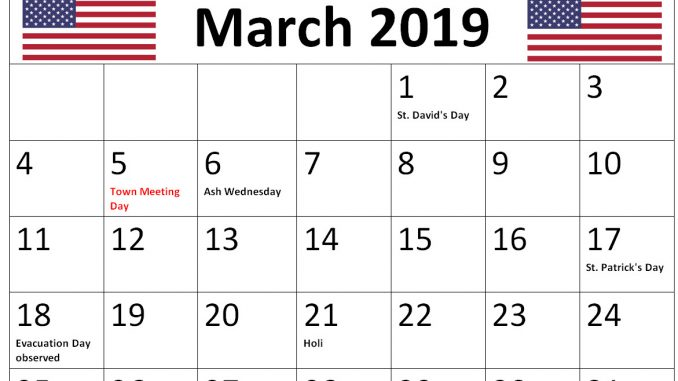 March 2019 Calendar USA With Holidays