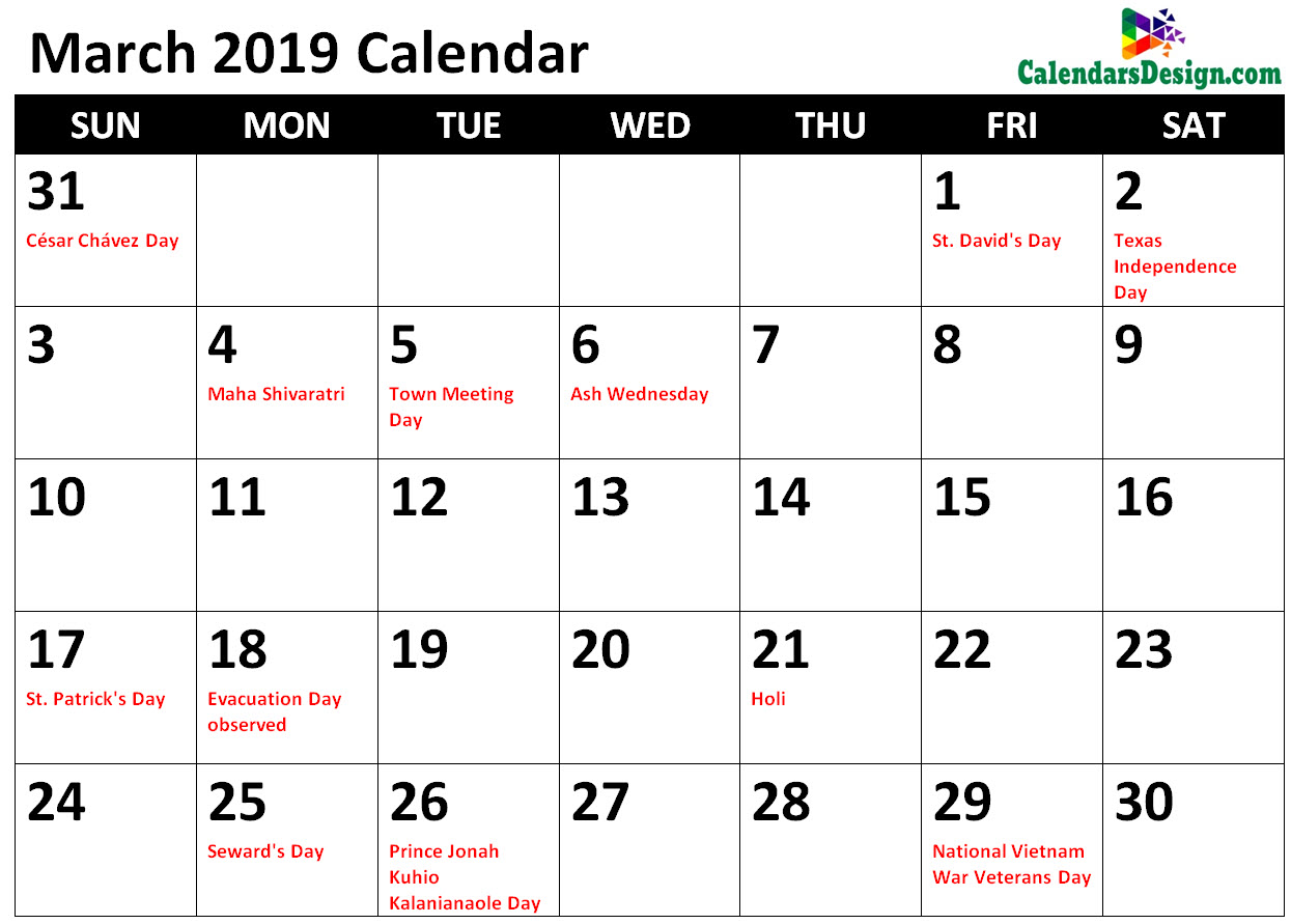 photo regarding Calendar With Holidays Printable identify March 2019 Calendar Holiday seasons