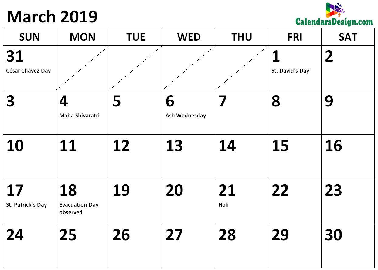 March Calendar 2019 Holidays in Word