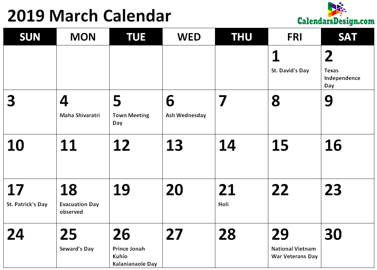 Printable March 2019 Holidays With Notes