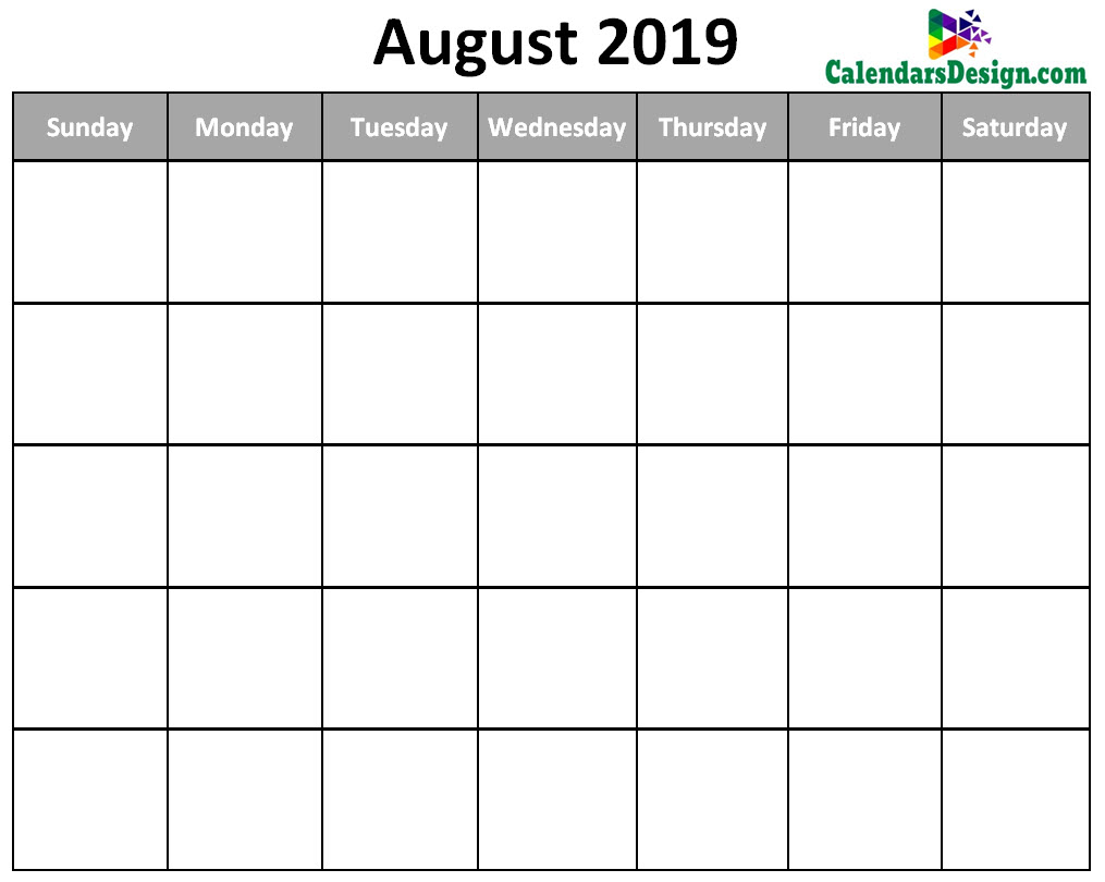 image regarding Free Printable Calendar August called August 2019 Printable Blank Calendar - No cost 2019 Printable