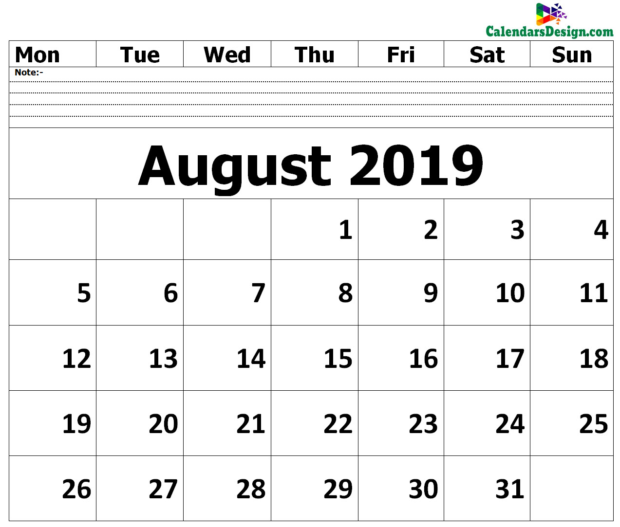 graphic relating to August Printable Calendar known as Blank August 2019 Calendar - No cost 2019 Printable Calendar