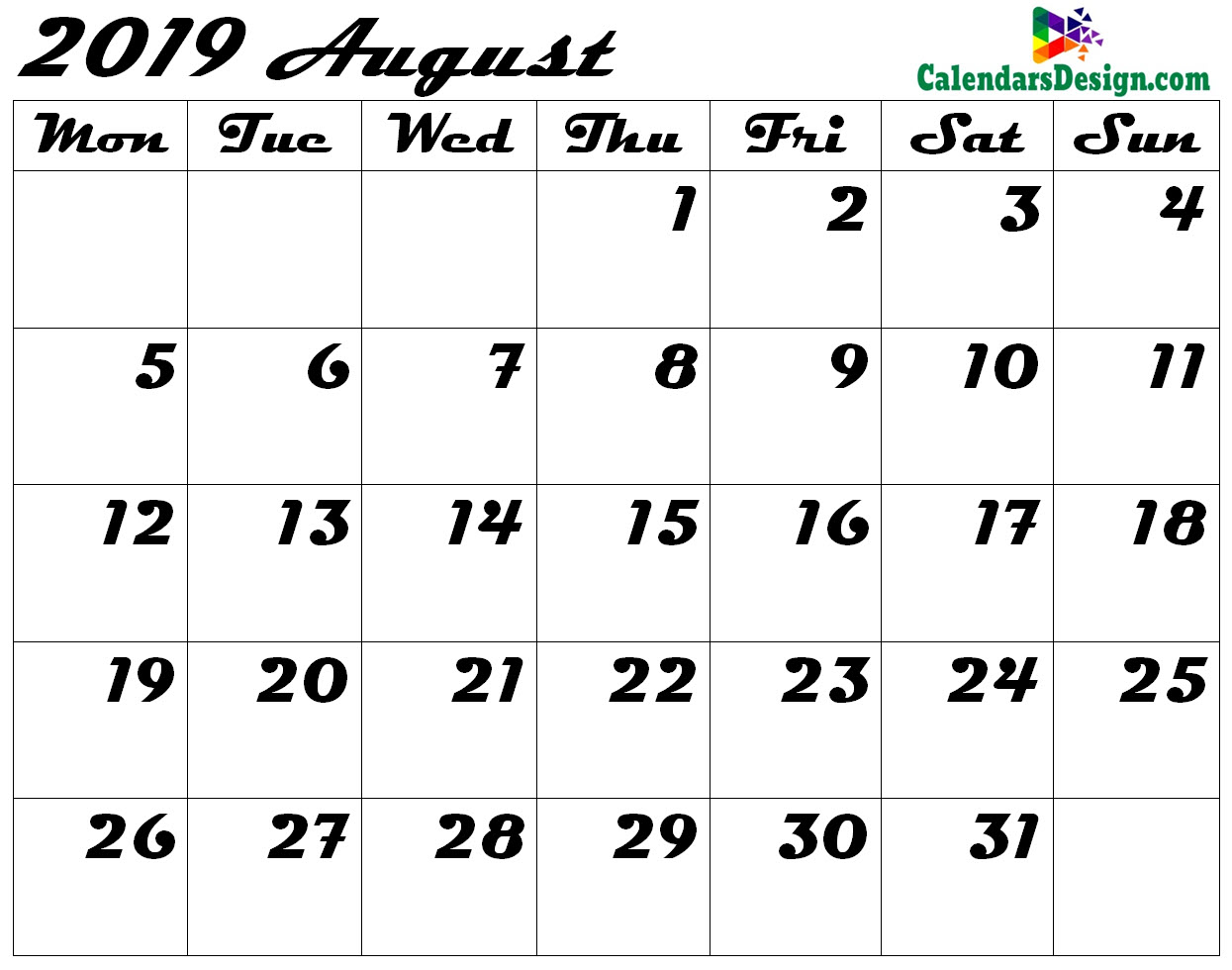 photo relating to Printable August Calendar identified as Blank August Calendar 2019 Template - Absolutely free 2019 Printable