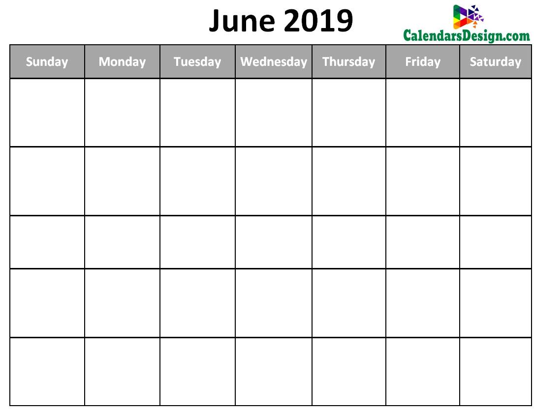 Blank Calendar For June 2019 Free 2019 Printable Calendar