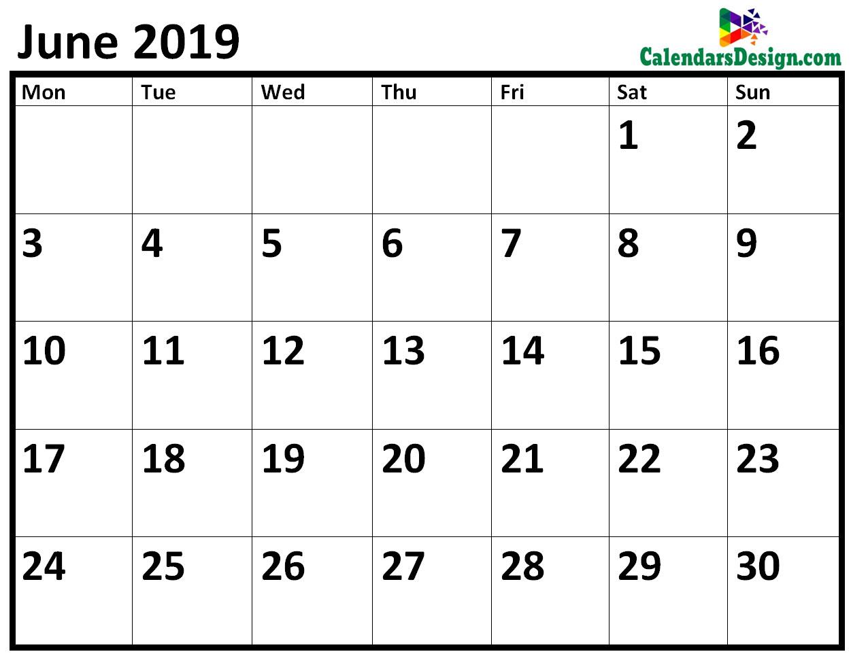 Blank June 2019 Calendar Free 2019 Printable Calendar