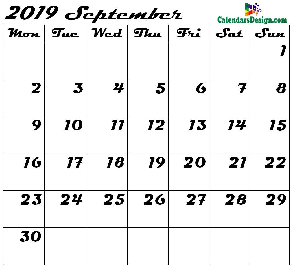 Blank September 2019 Calendar