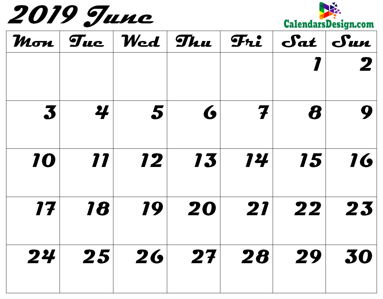 photo relating to June Printable Calendar named Editable June 2019 Calendar Blank Template - Cost-free 2019
