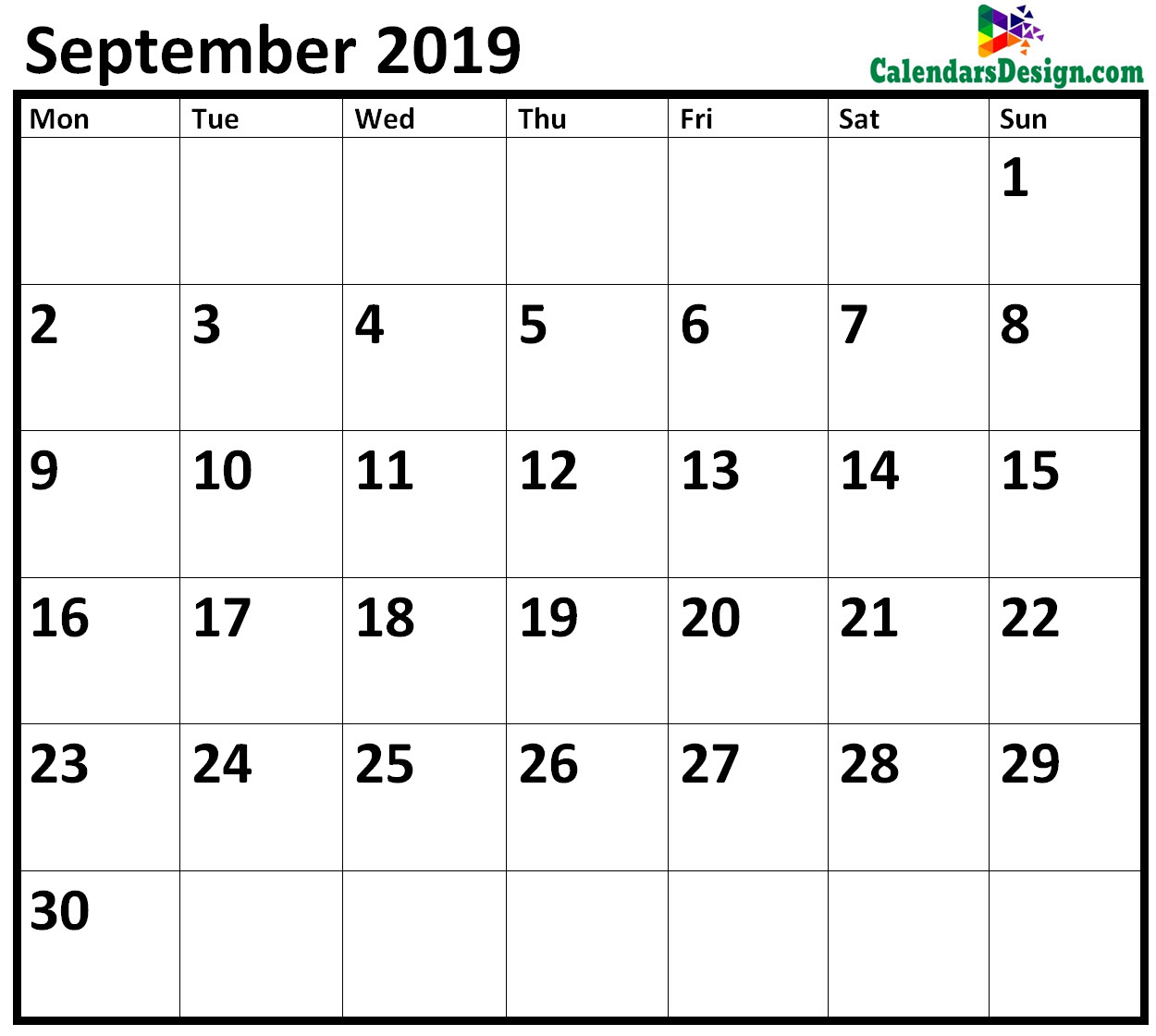 Editable September 2019 Calendar Blank Template