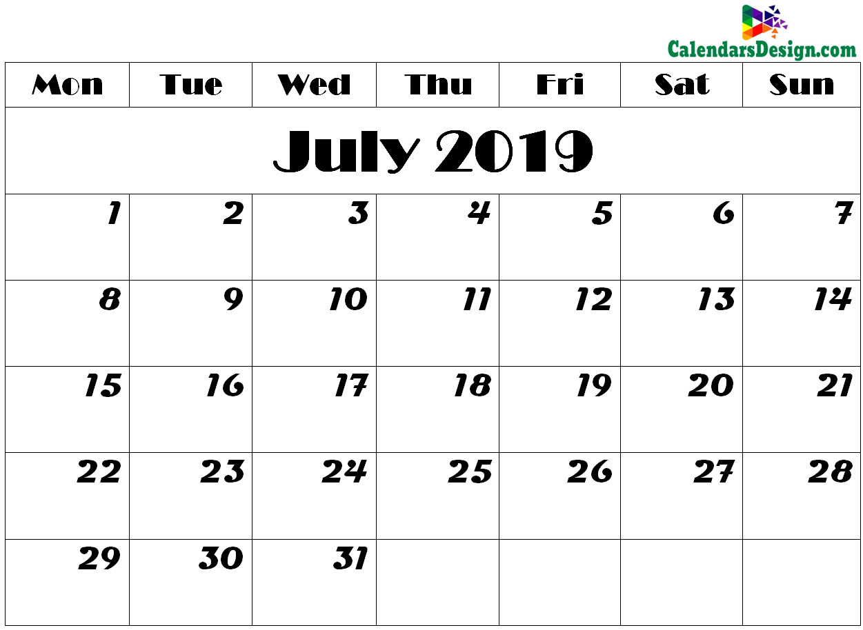 image about July Printable Calendar known as July 2019 Calendar Printable - Absolutely free 2019 Printable Calendar