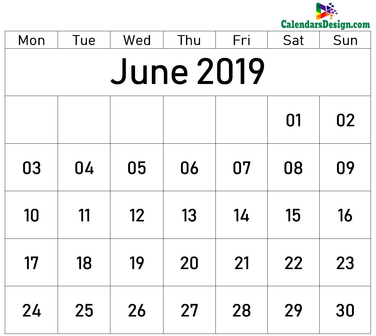 June 2019 Printable Blank Calendar