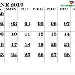 June Calendar 2019 Printable
