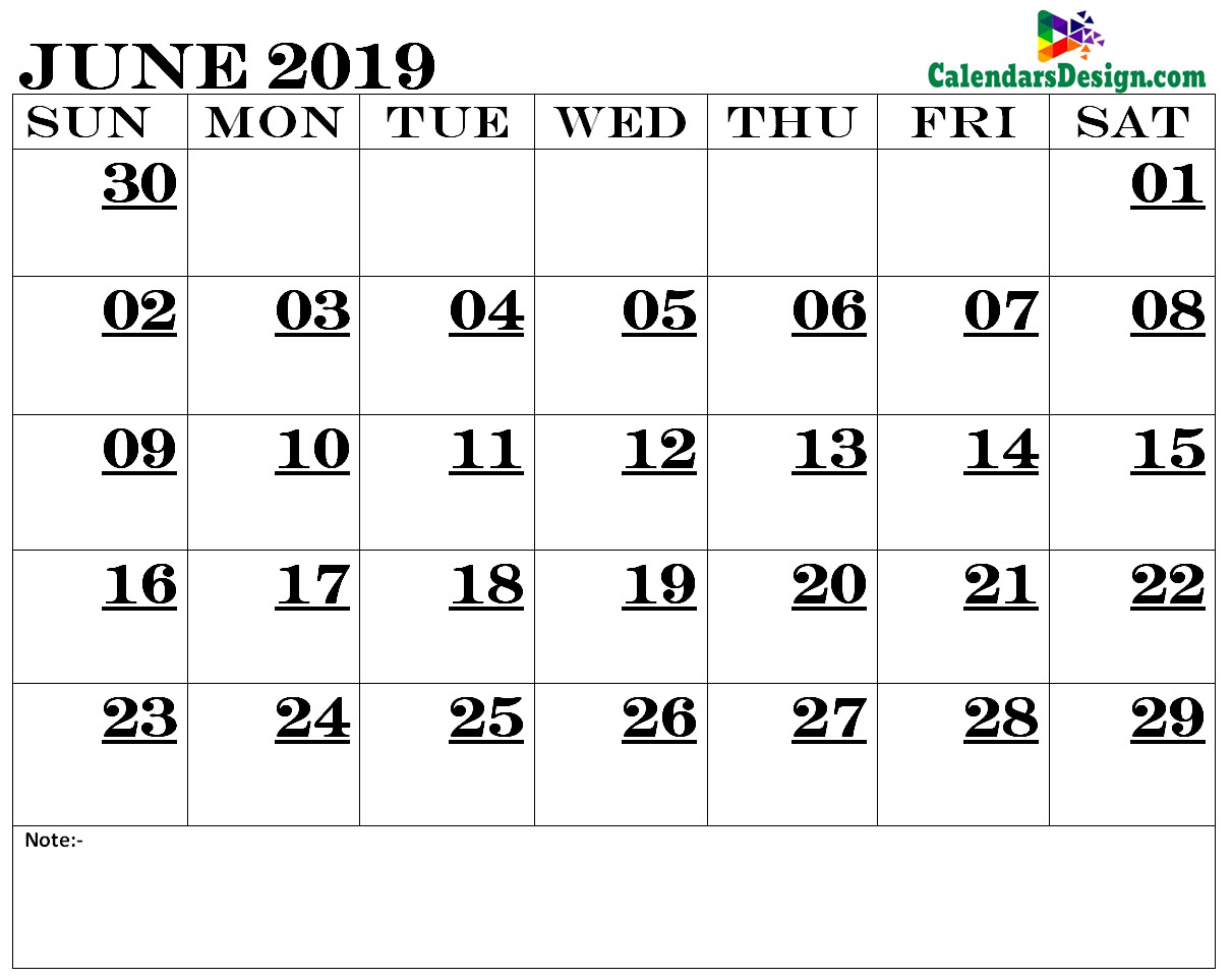 June 2019 Calendar Printable