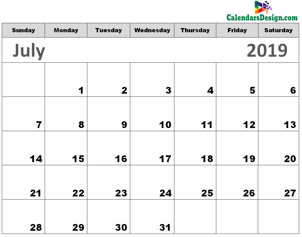 graphic about Printable Calendar July named Printable Calendar for July 2019 - Cost-free 2019 Printable