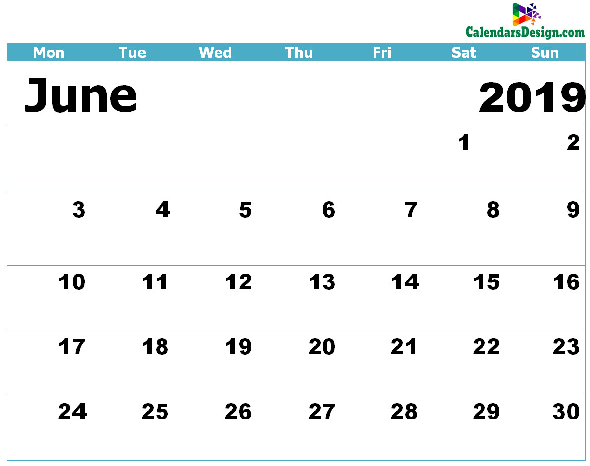 Printable Calendar for June 2019 Templates