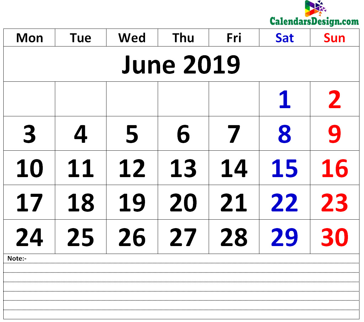 Printable Calendar for June 2019