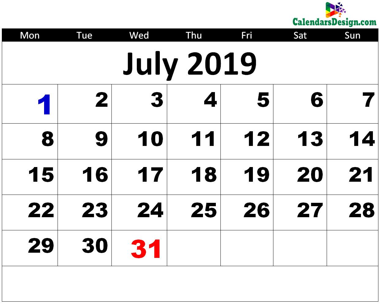 Printable July 2019 Calendar - Free 2019 Printable Calendar
