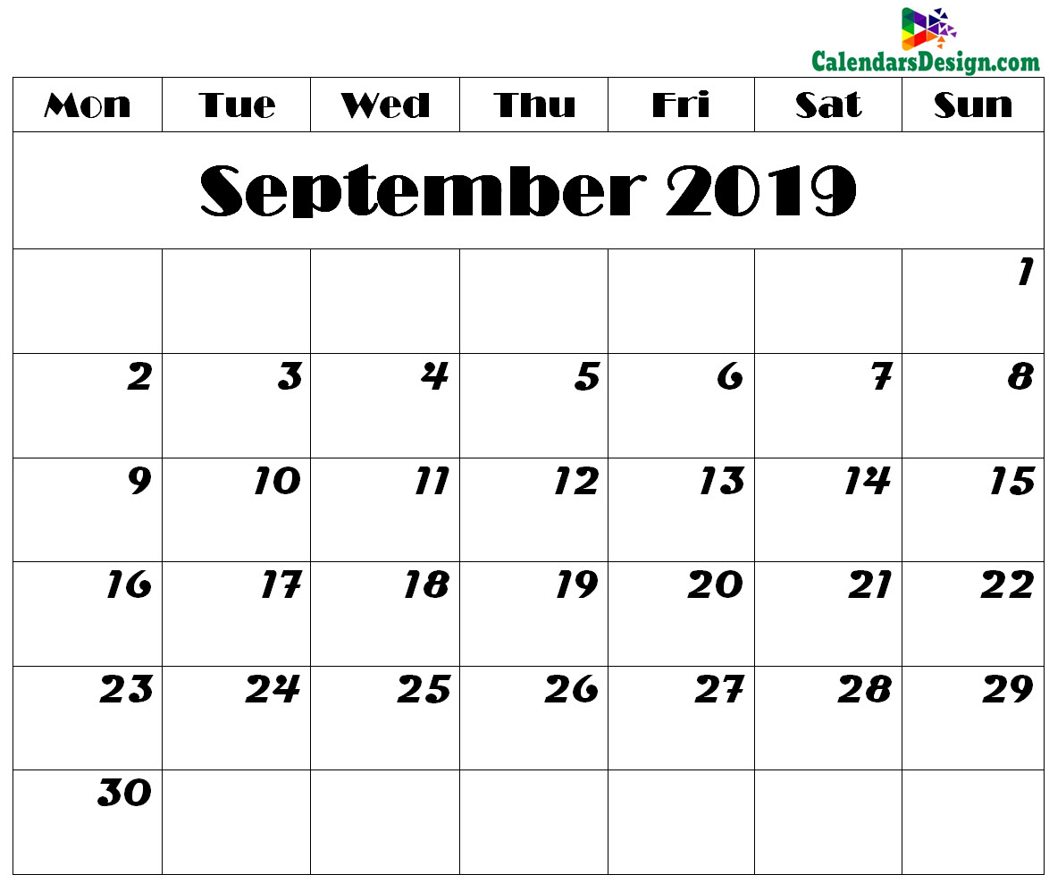 picture relating to Printable September Calendar named Printable September 2019 Calendar - Cost-free 2019 Printable