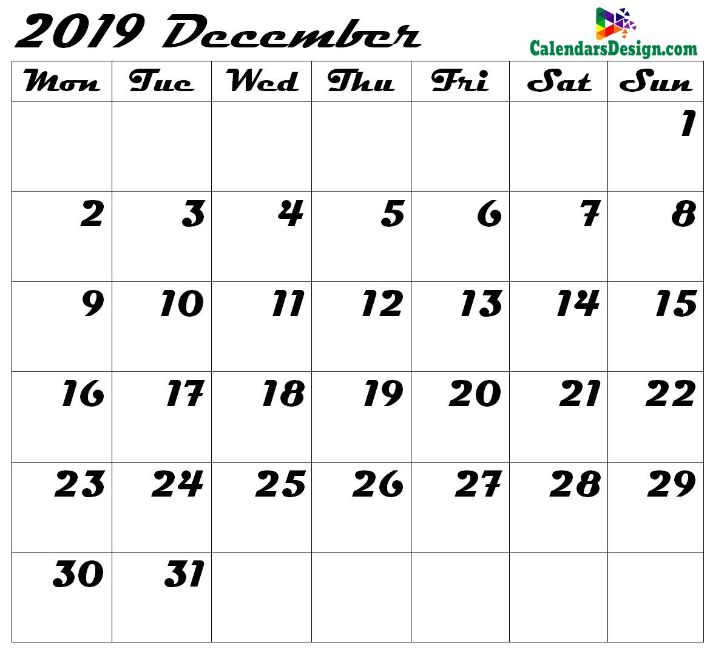Blank December Calendar 2019 Template