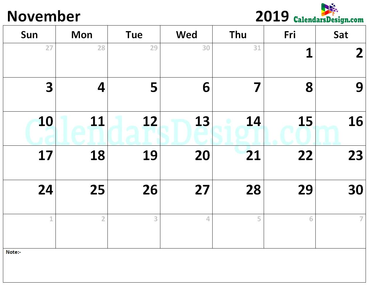 Calendar November 2019