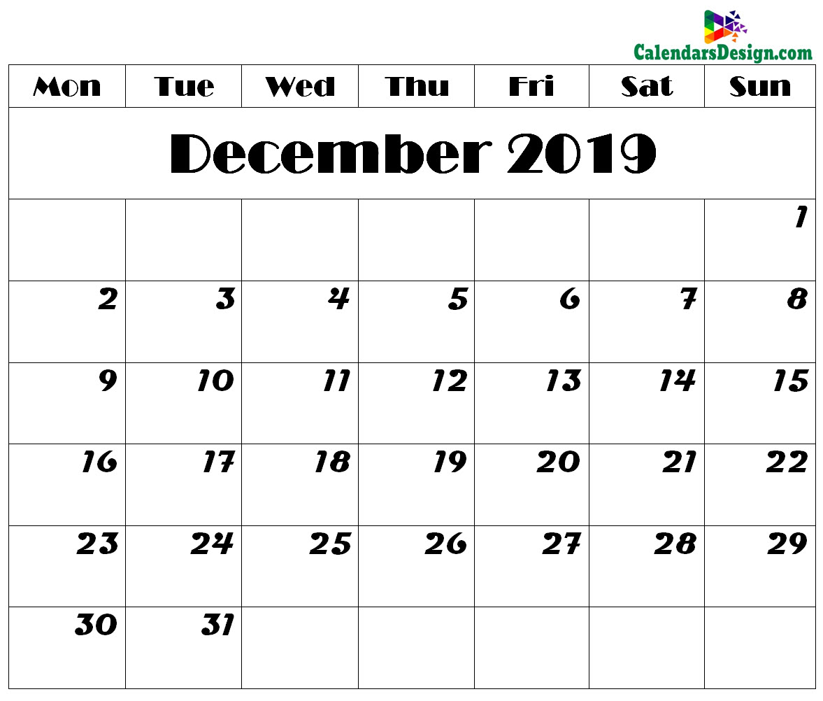 photo regarding December Calendar Printable With Holidays called December 2019 Calendar Printable - Cost-free 2019 Printable