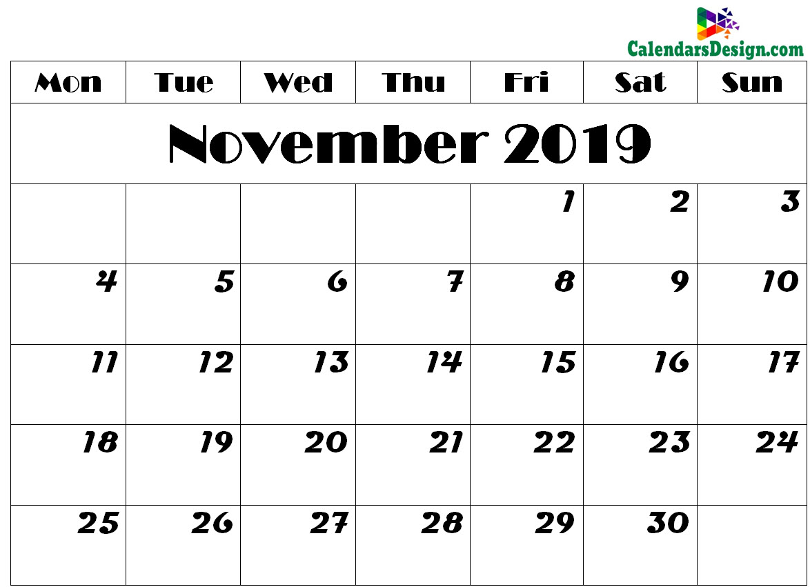 photograph relating to Free Printable Nov Calendar called November 2019 Calendar Printable - Absolutely free 2019 Printable