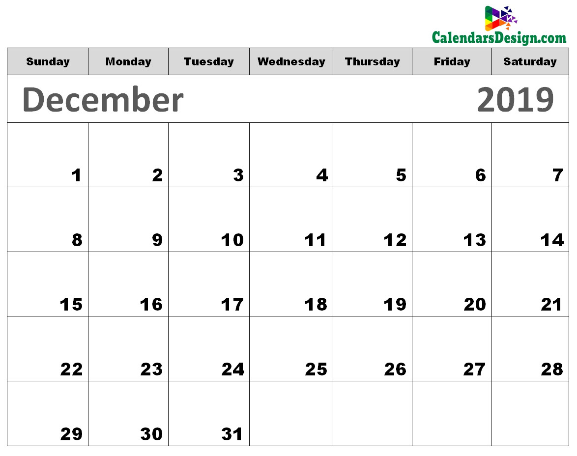 photo about December Printable Calendar Free referred to as Printable Calendar for December 2019 - Free of charge 2019 Printable