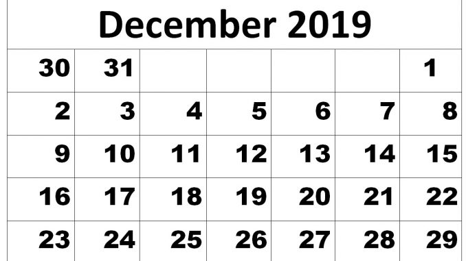 photo relating to Printable December Calendar named December 2019 Calendar Printable