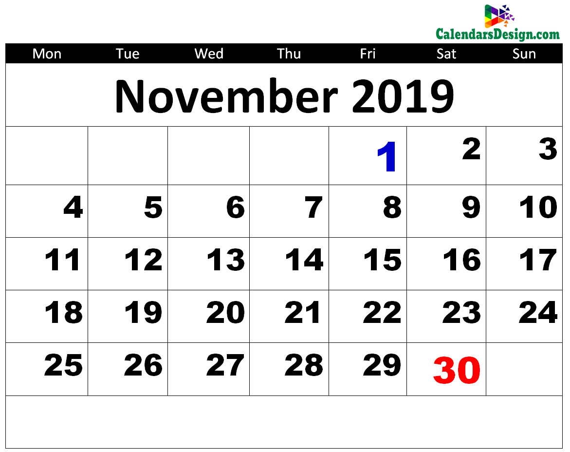picture about Printable Nov Calendar named Printable November 2019 Calendar - No cost 2019 Printable