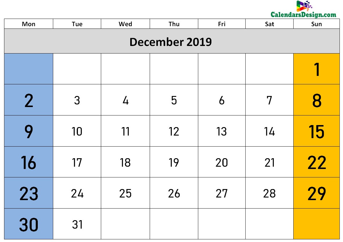 2019 December Calendar Holidays in Word
