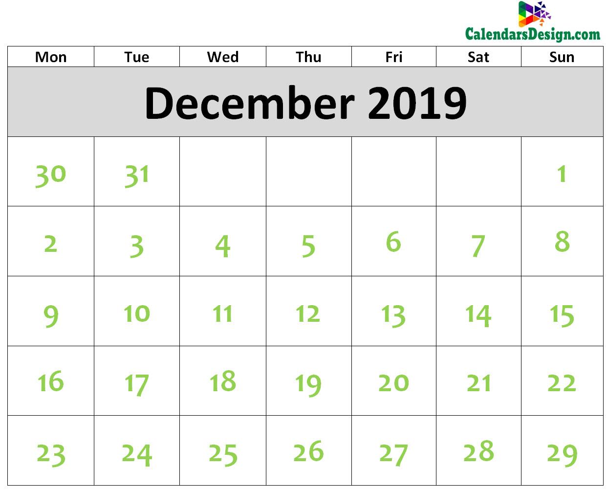 2019 December Calendar Printable Template