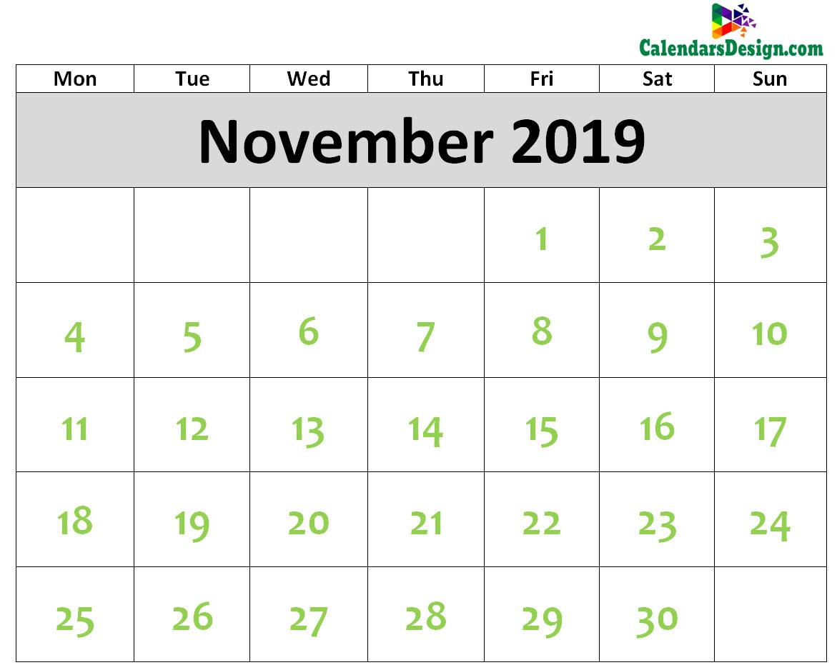 2019 November Calendar Printable Template